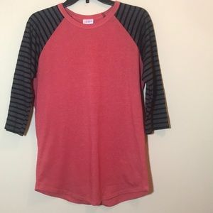 Lularoe Pink,Gray,and Black 3/4 Sleeve Shirt